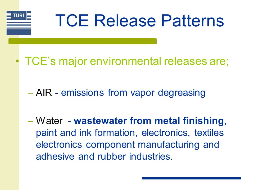 TCE Release Patterns TCE's major environmental releases are;