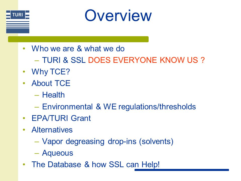 Overview Who we are & what we do TURI & SSL DOES EVERYONE KNOW US