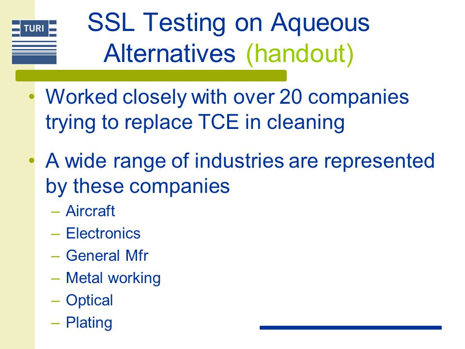 SSL Testing on Aqueous Alternatives (handout)