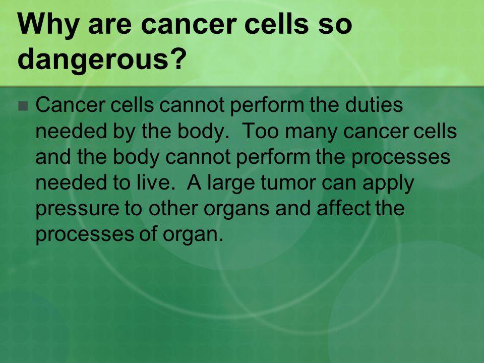 Why are cancer cells so dangerous