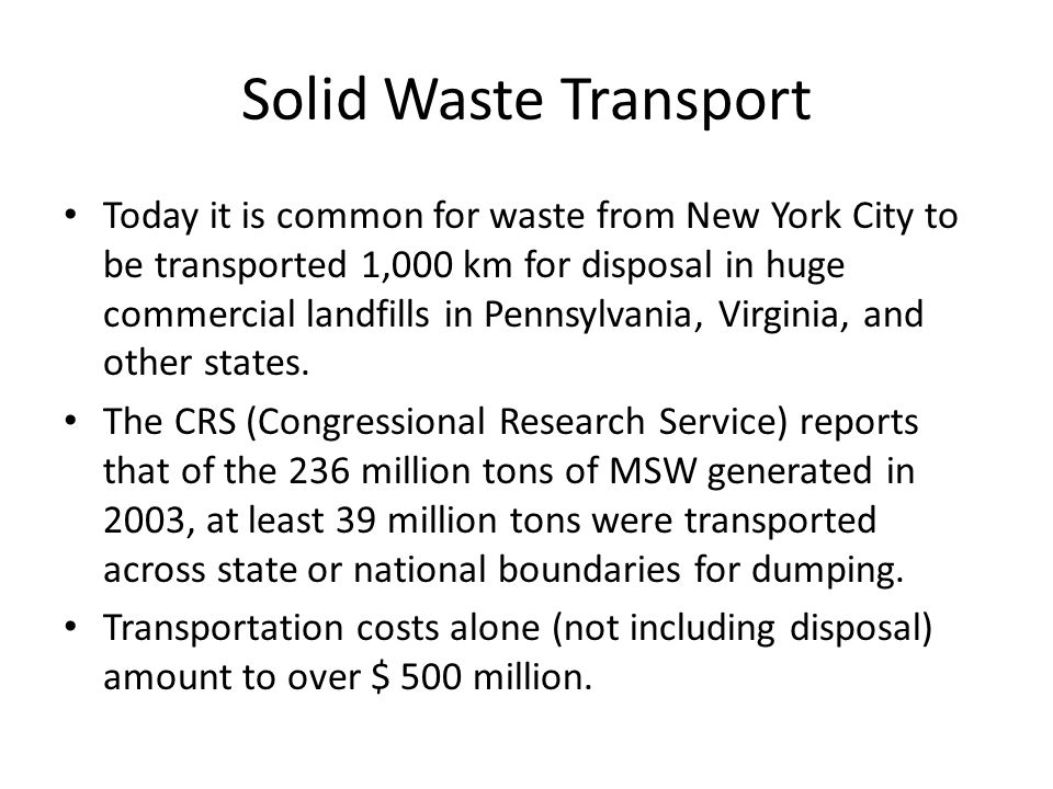 Solid Waste Transport