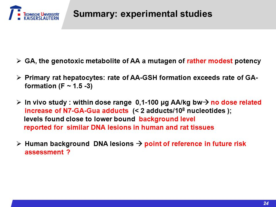 Summary: experimental studies