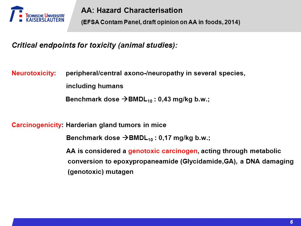 Critical endpoints for toxicity (animal studies):