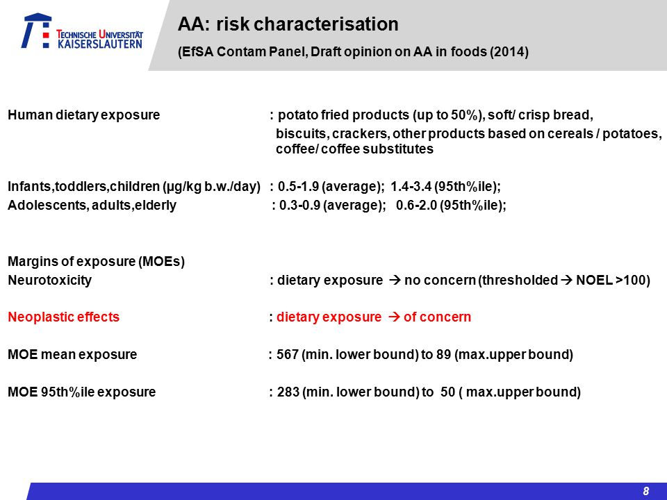 AA: risk characterisation (EfSA Contam Panel, Draft opinion on AA in foods (2014)
