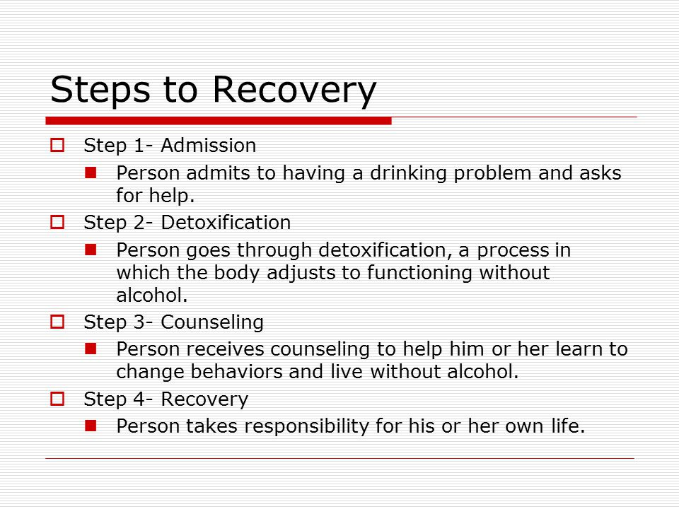 Steps to Recovery Step 1- Admission