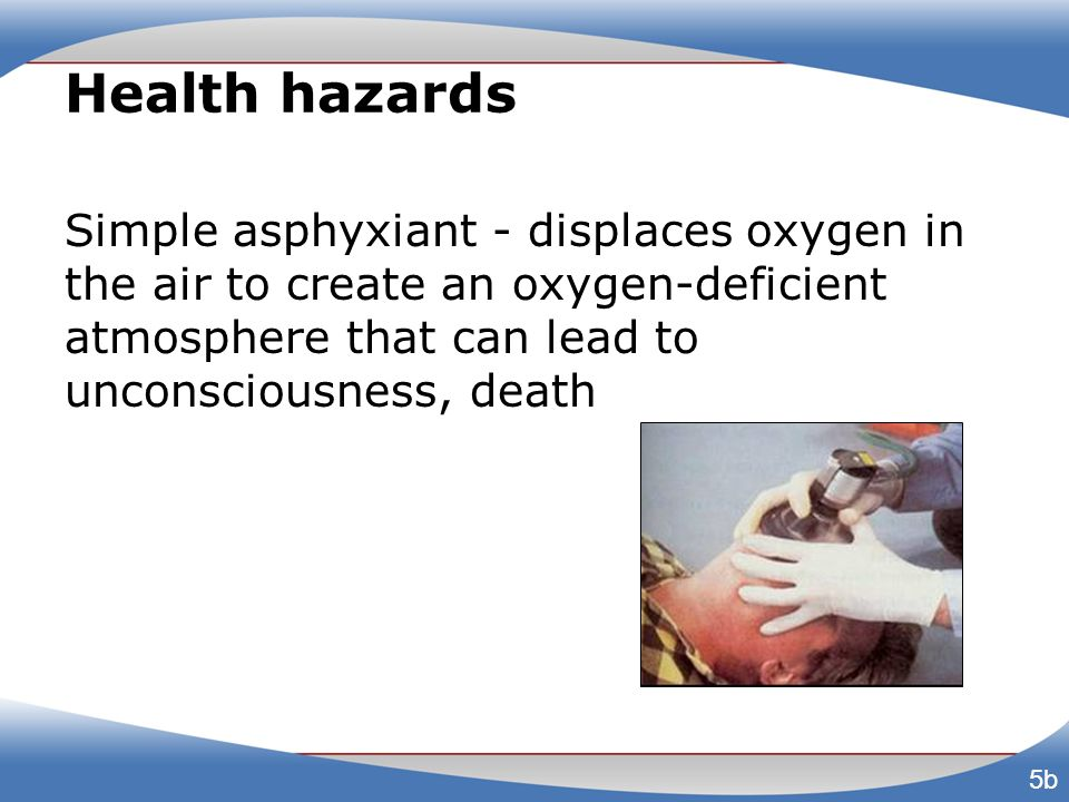 Health hazards Simple asphyxiant - displaces oxygen in the air to create an oxygen-deficient atmosphere that can lead to unconsciousness, death.