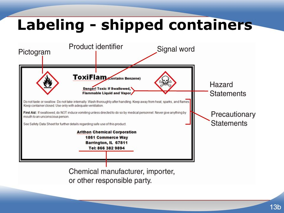 Labeling - shipped containers