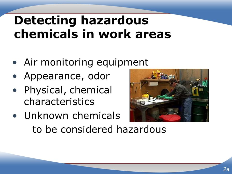 Detecting hazardous chemicals in work areas