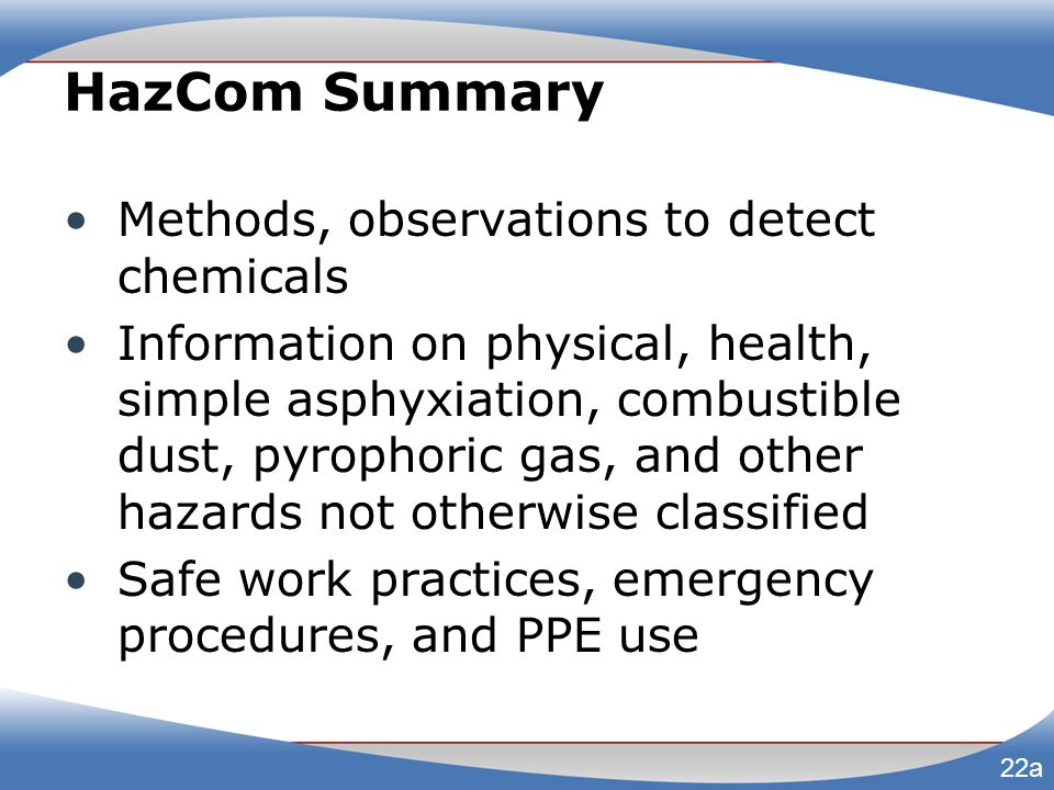 HazCom Summary Methods, observations to detect chemicals