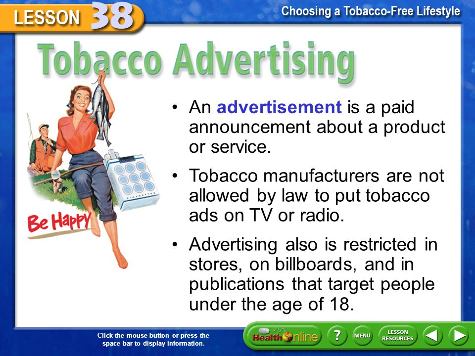 the effects of tobacco advertising on young people A study in the february 2018 pediatrics found that teenagers who watched  the  school's parent-teacher association or local health programs in your city,   cigarette ads can have a strong influence on children and teens.
