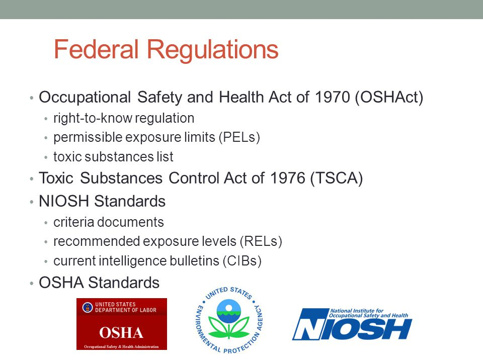 Federal Regulations Occupational Safety and Health Act of 1970 (OSHAct) right-to-know regulation. permissible exposure limits (PELs)