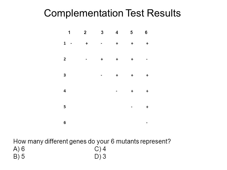 Complementation Test Results