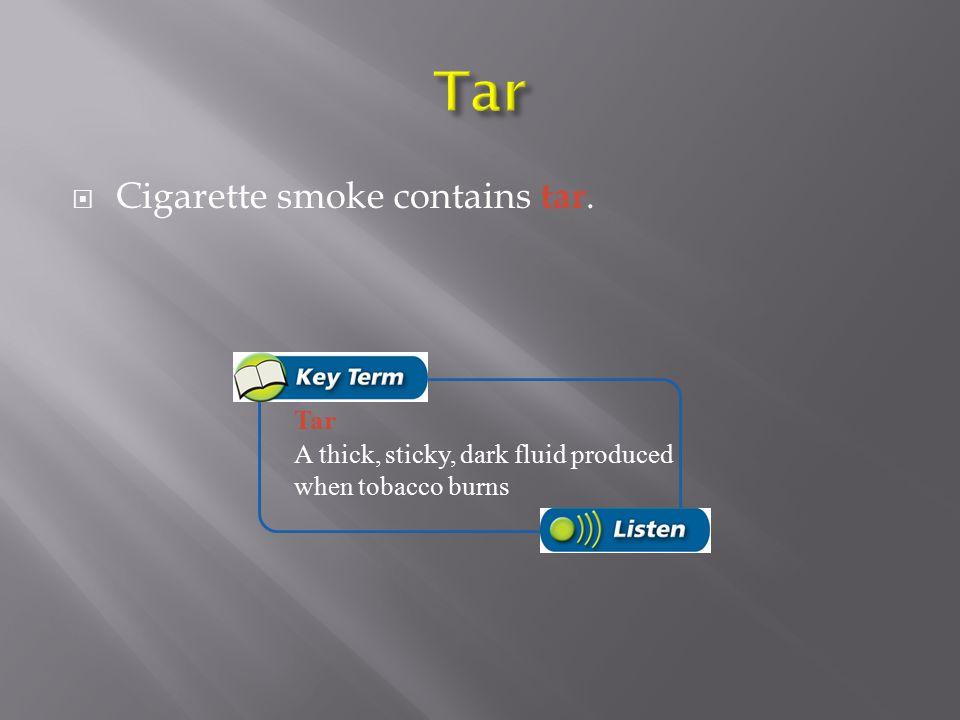 Tar Cigarette smoke contains tar. Tar