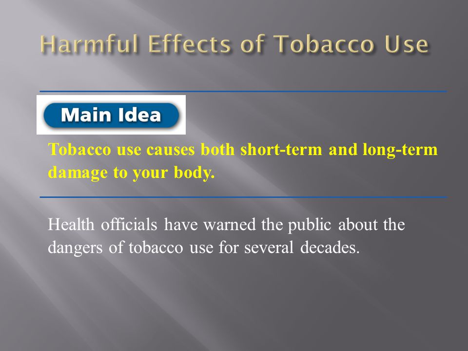 Harmful Effects of Tobacco Use