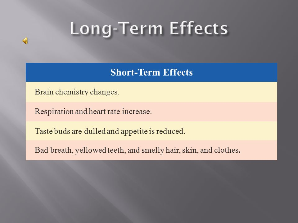 Long-Term Effects Short-Term Effects Brain chemistry changes.