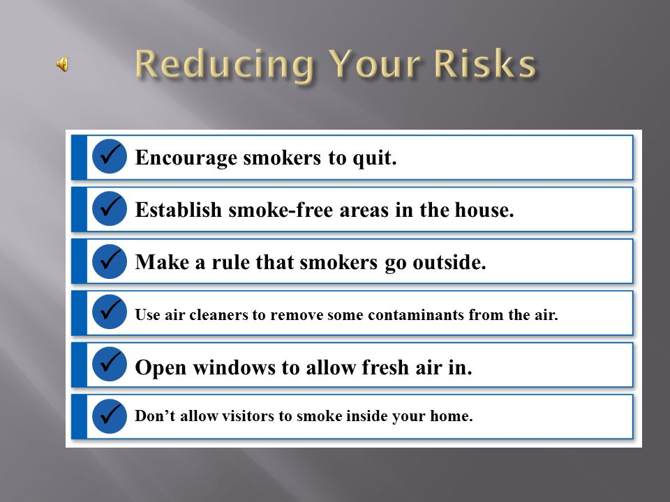 Reducing Your Risks       Encourage smokers to quit.