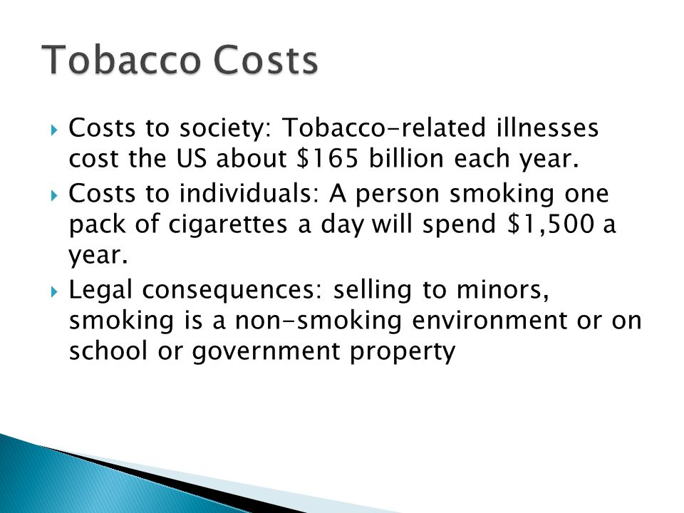 Tobacco Costs Costs to society: Tobacco-related illnesses cost the US about $165 billion each year.