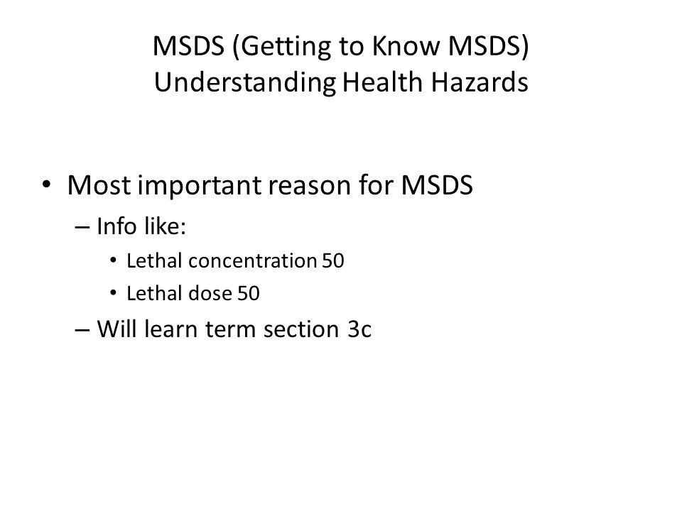 MSDS (Getting to Know MSDS) Understanding Health Hazards