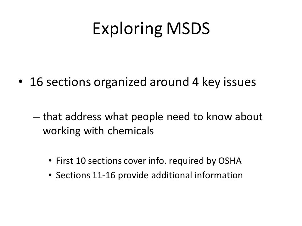 Exploring MSDS 16 sections organized around 4 key issues
