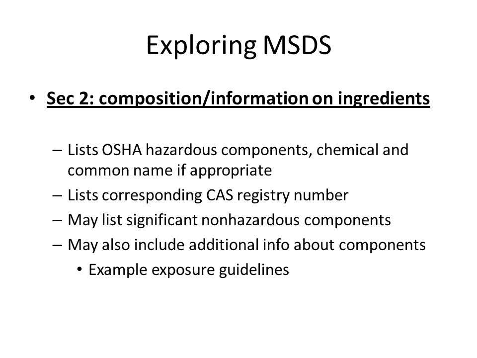 Exploring MSDS Sec 2: composition/information on ingredients