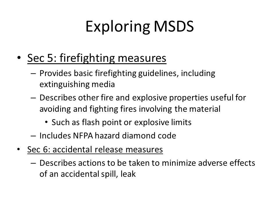 Exploring MSDS Sec 5: firefighting measures