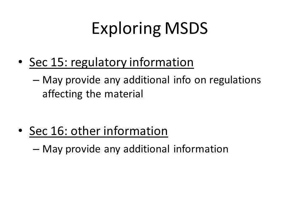 Exploring MSDS Sec 15: regulatory information