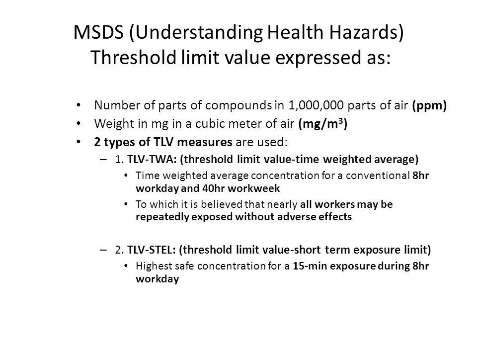 MSDS (Understanding Health Hazards) Threshold limit value expressed as: