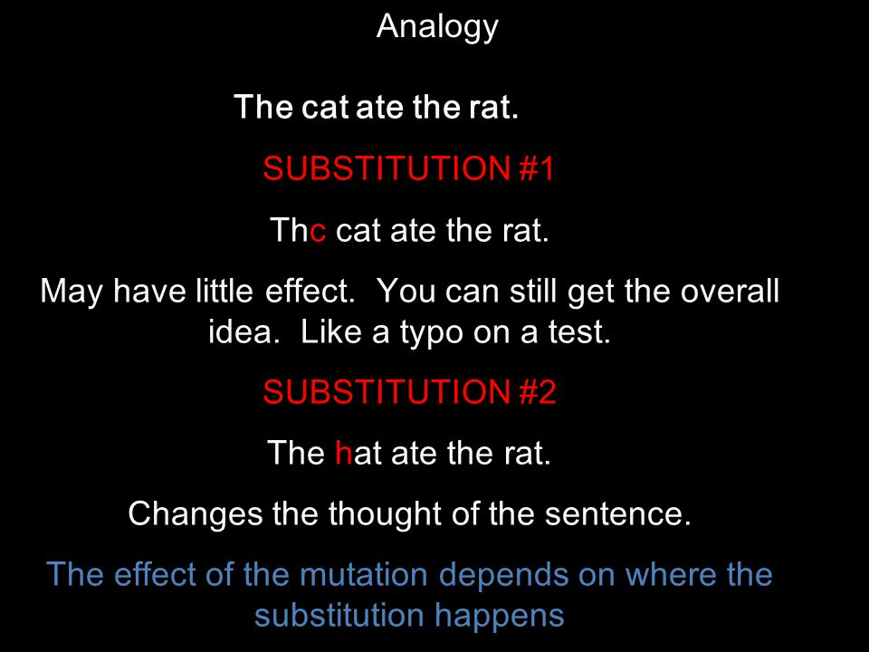 The cat ate the rat. Analogy SUBSTITUTION #1 Thc cat ate the rat.