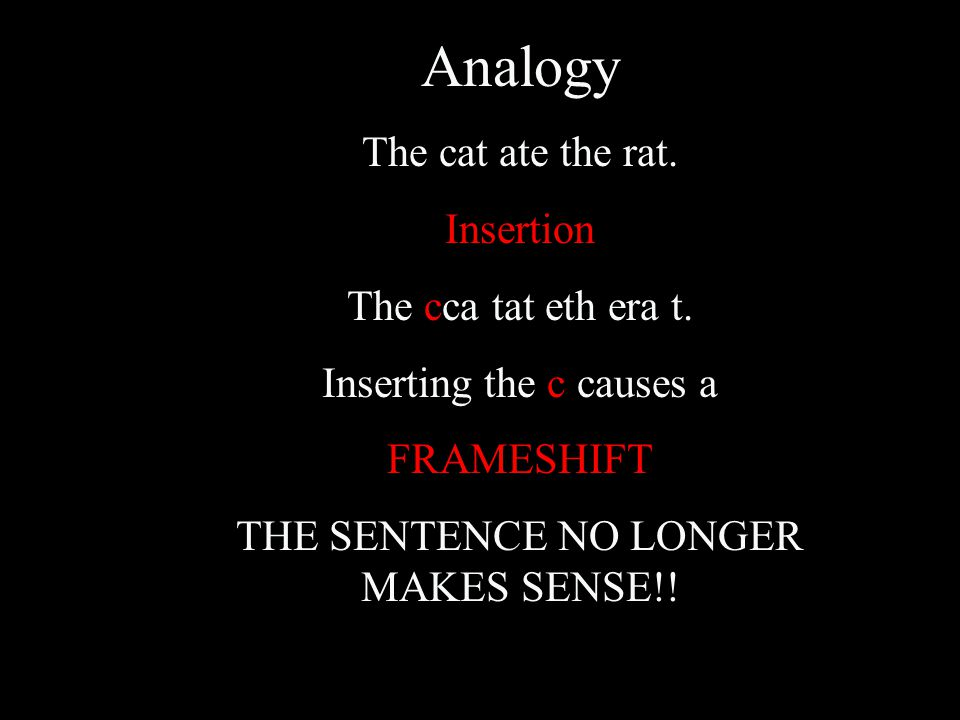Analogy The cat ate the rat. Insertion The cca tat eth era t.