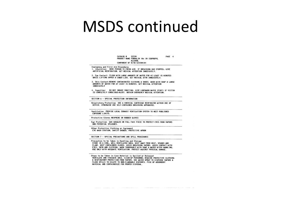 MSDS continued