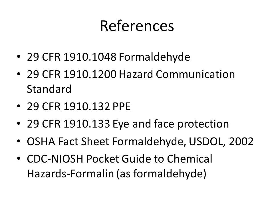 References 29 CFR 1910.1048 Formaldehyde