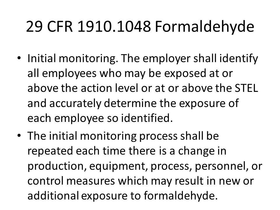 29 CFR 1910.1048 Formaldehyde