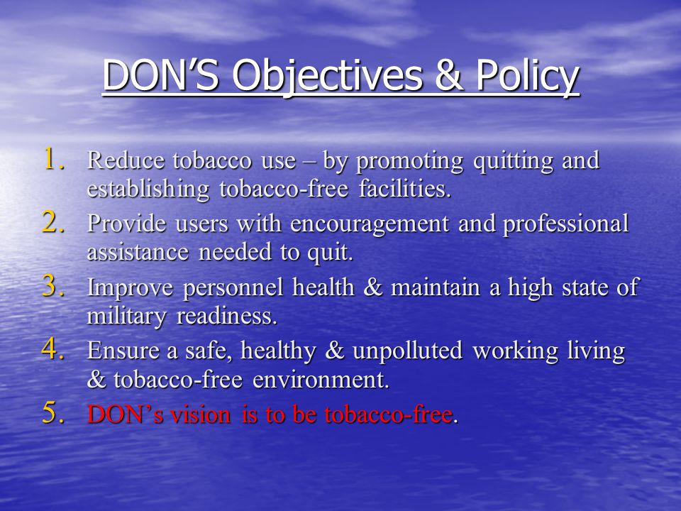 DON'S Objectives & Policy
