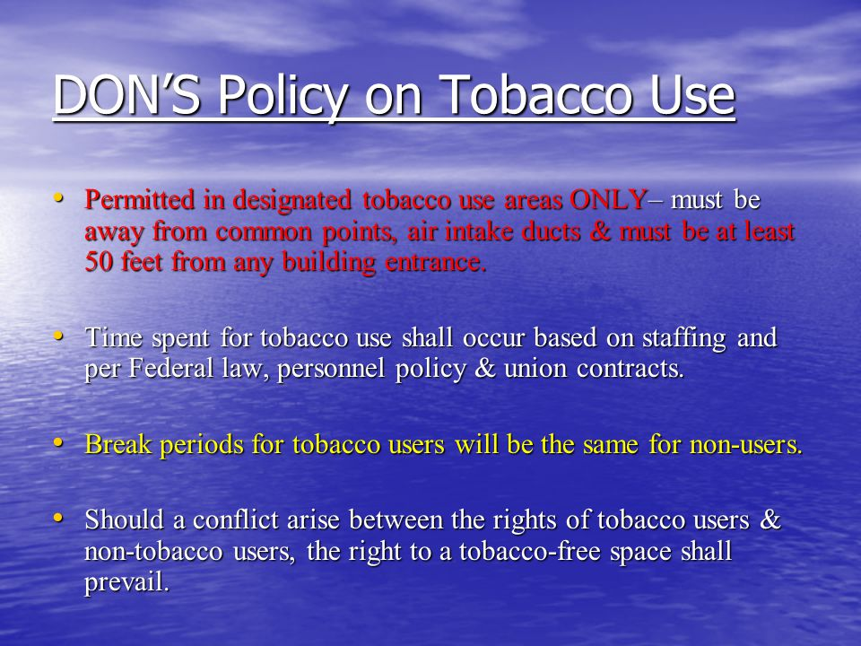 DON'S Policy on Tobacco Use