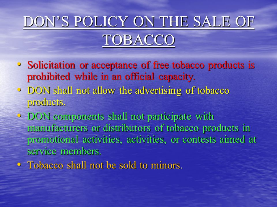 DON'S POLICY ON THE SALE OF TOBACCO