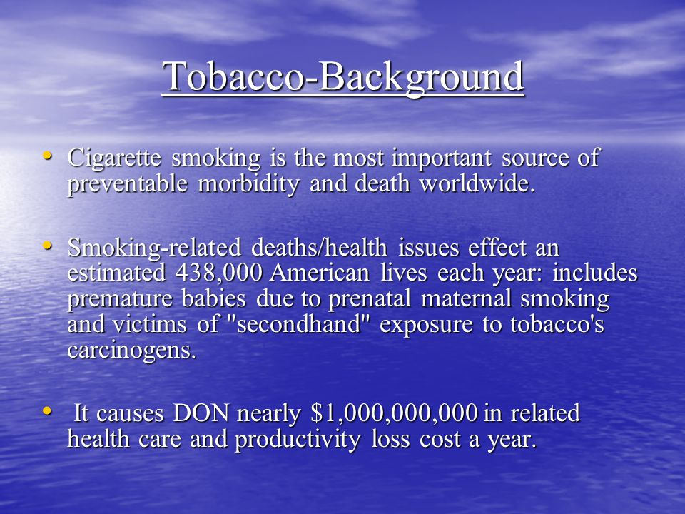 Tobacco-Background Cigarette smoking is the most important source of preventable morbidity and death worldwide.