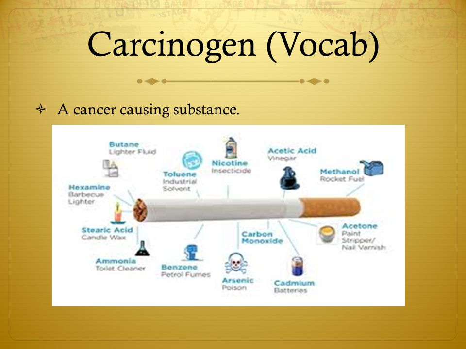 Carcinogen (Vocab) A cancer causing substance.