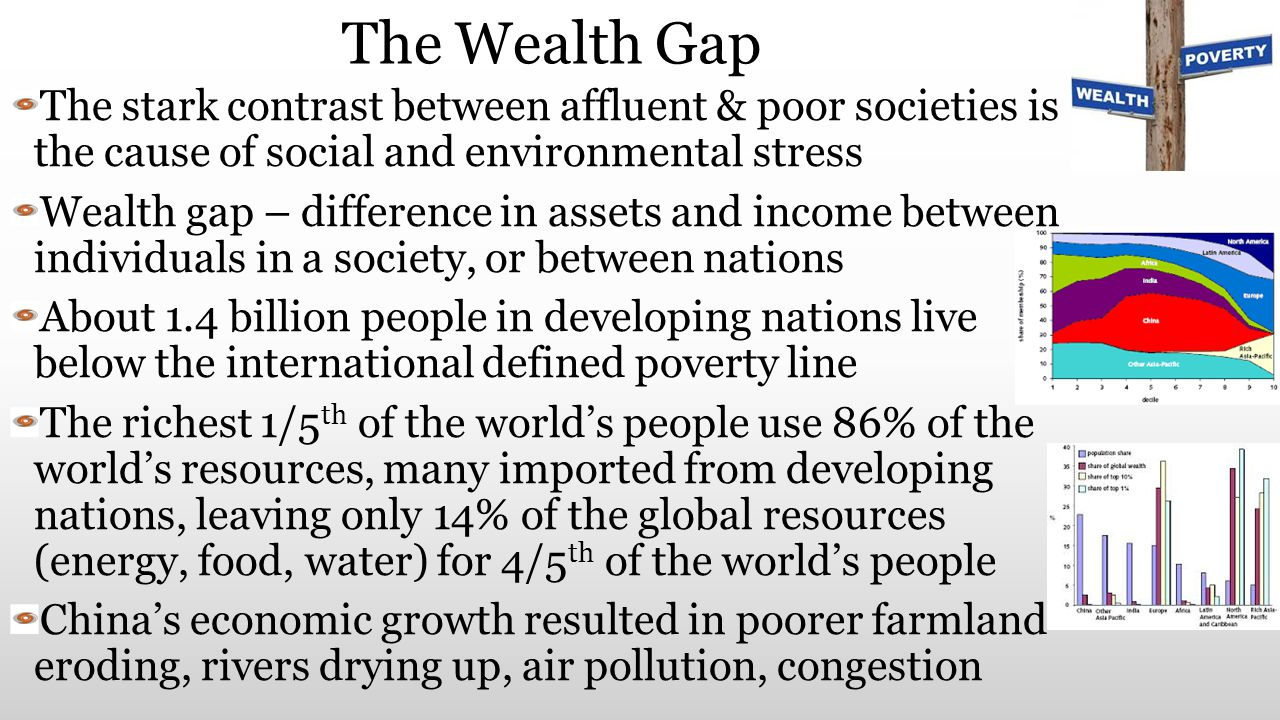 The Wealth Gap The stark contrast between affluent & poor societies is the cause of social and environmental stress.