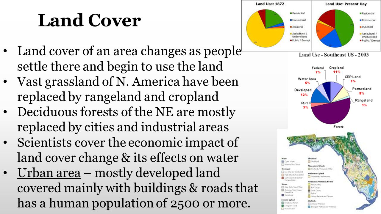 Land Cover Land cover of an area changes as people settle there and begin to use the land.