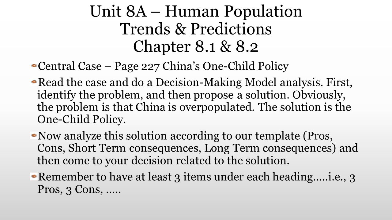 Unit 8A – Human Population Trends & Predictions Chapter 8.1 & 8.2