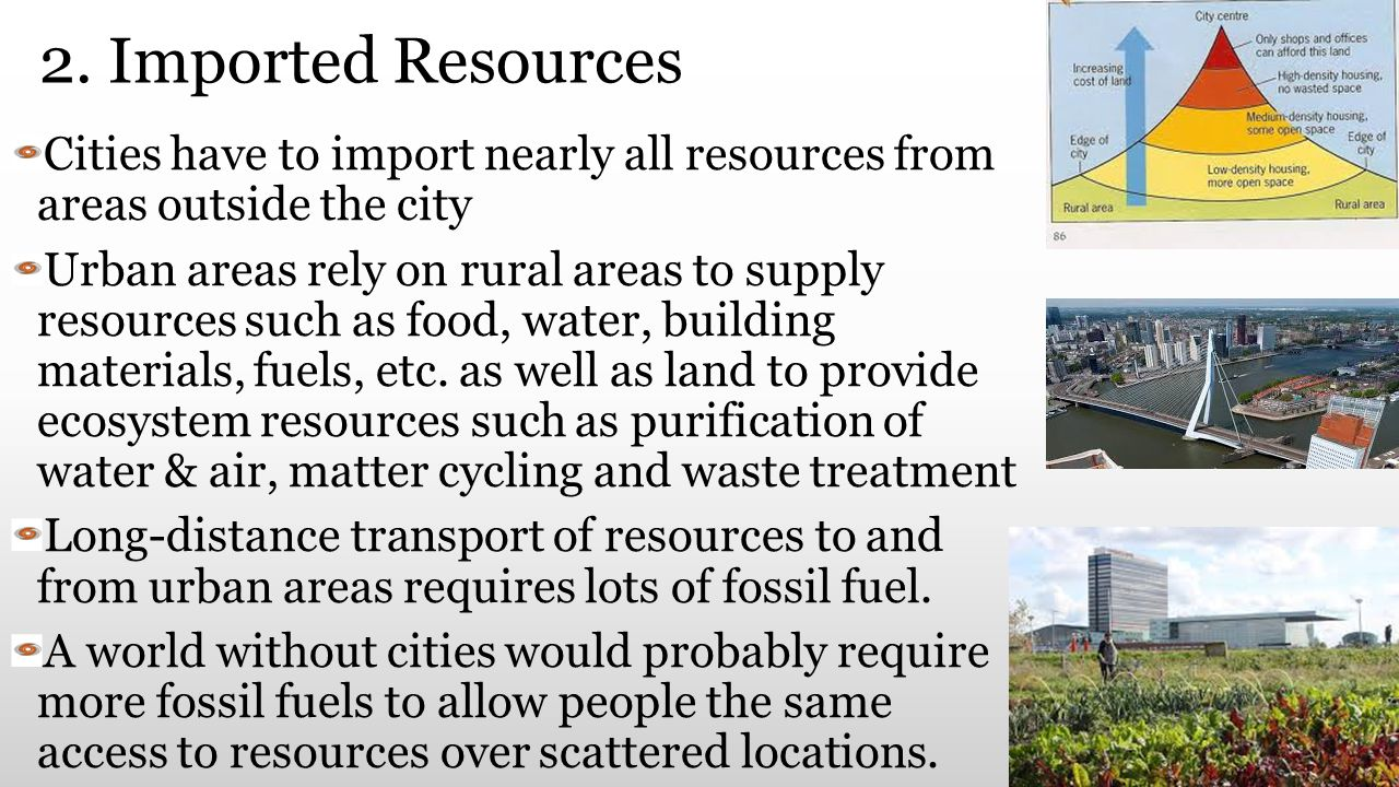 2. Imported Resources Cities have to import nearly all resources from areas outside the city.