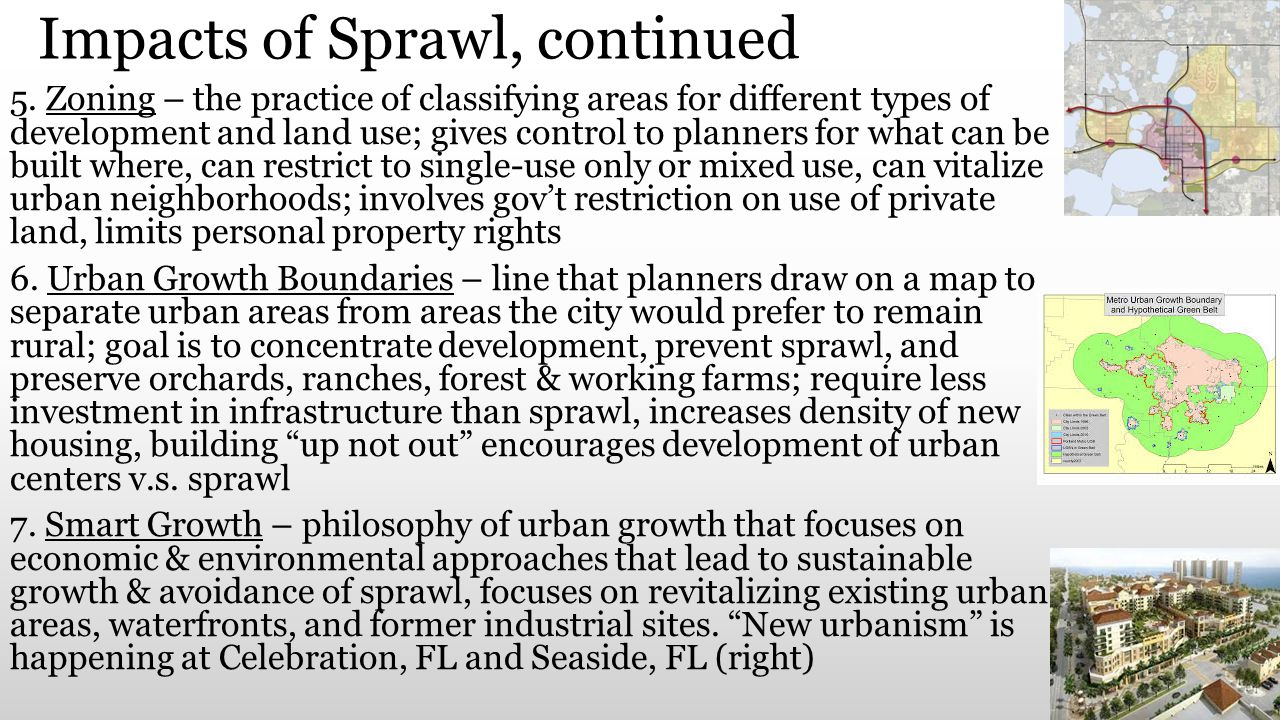 Impacts of Sprawl, continued
