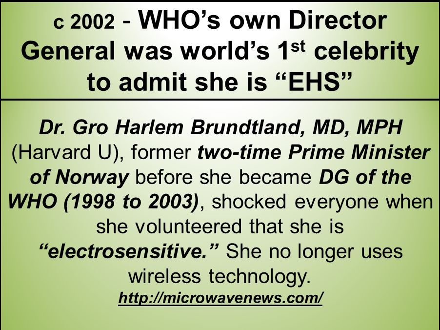 c 2002 - WHO's own Director General was world's 1st celebrity to admit she is EHS