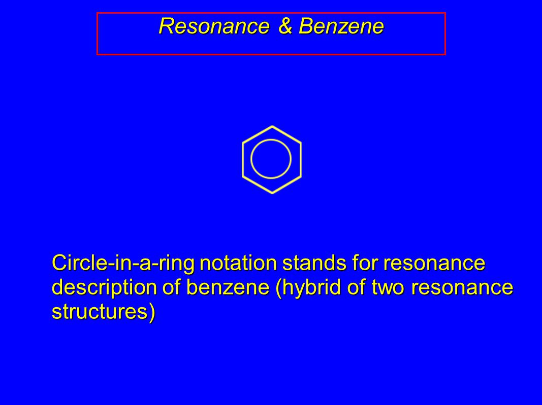 Resonance & Benzene Circle-in-a-ring notation stands for resonance description of benzene (hybrid of two resonance structures)