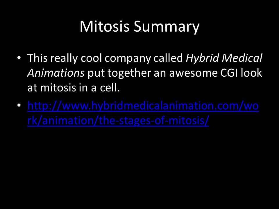 Mitosis Summary This really cool company called Hybrid Medical Animations put together an awesome CGI look at mitosis in a cell.