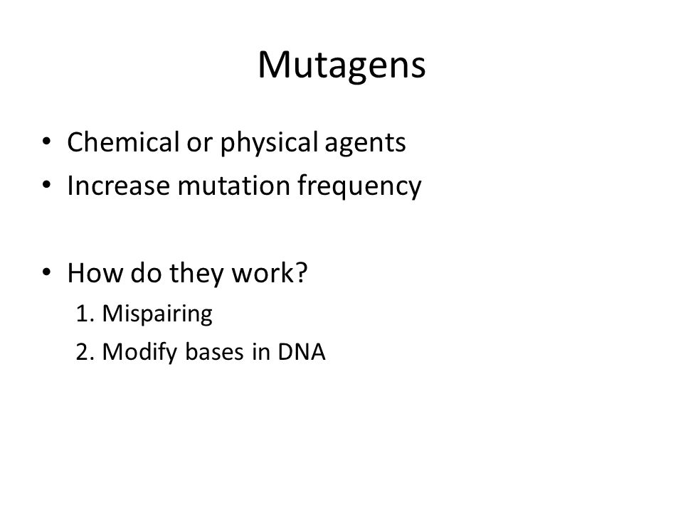 Mutagens Chemical or physical agents Increase mutation frequency