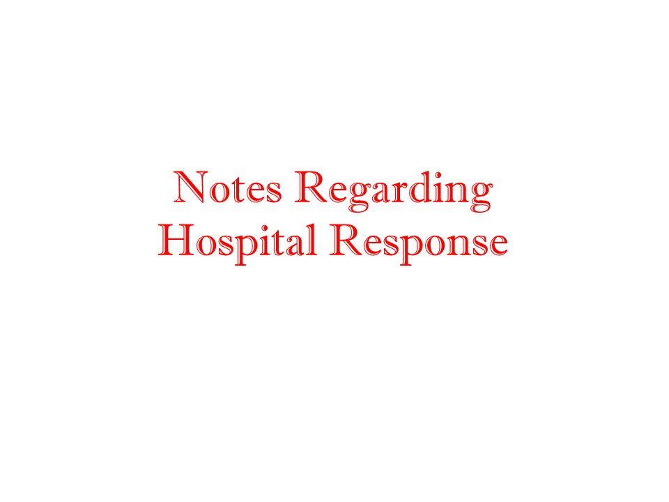 Notes Regarding Hospital Response