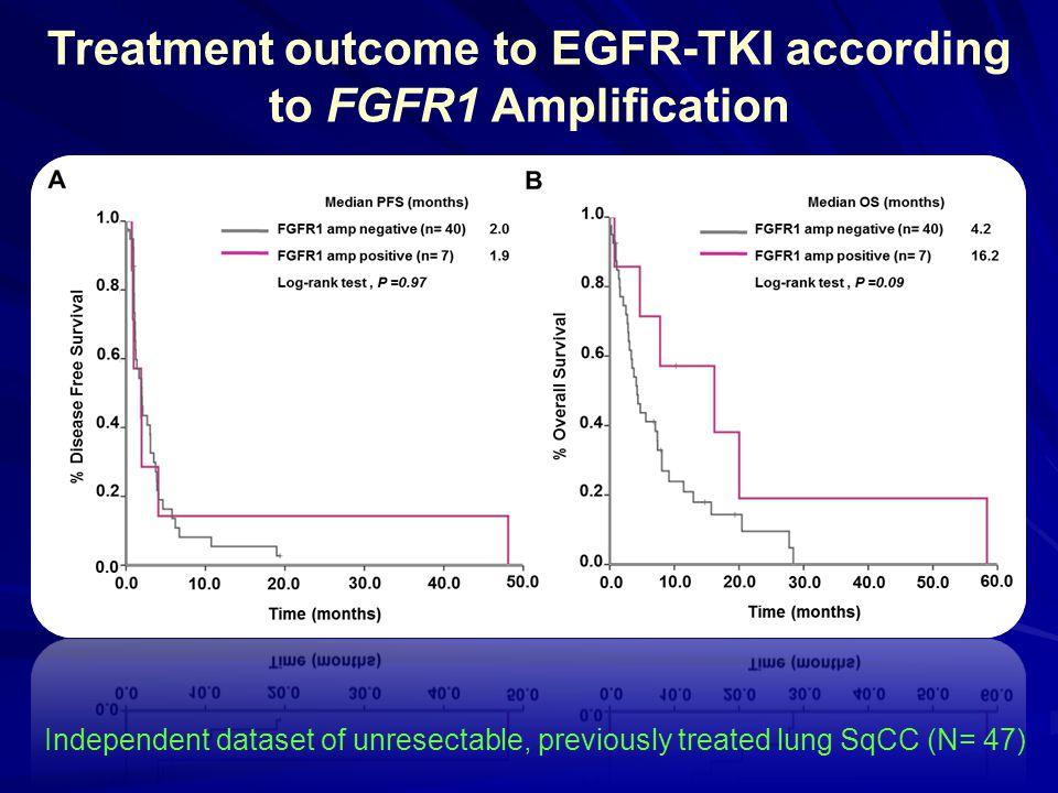 Treatment outcome to EGFR-TKI according to FGFR1 Amplification