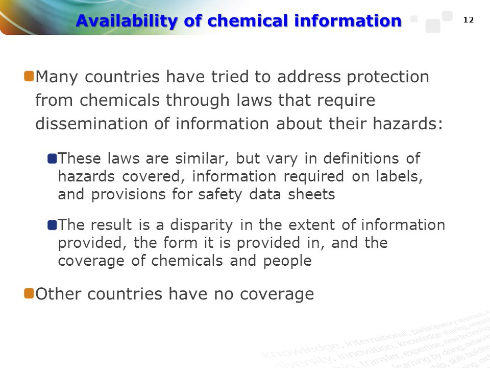 Availability of chemical information