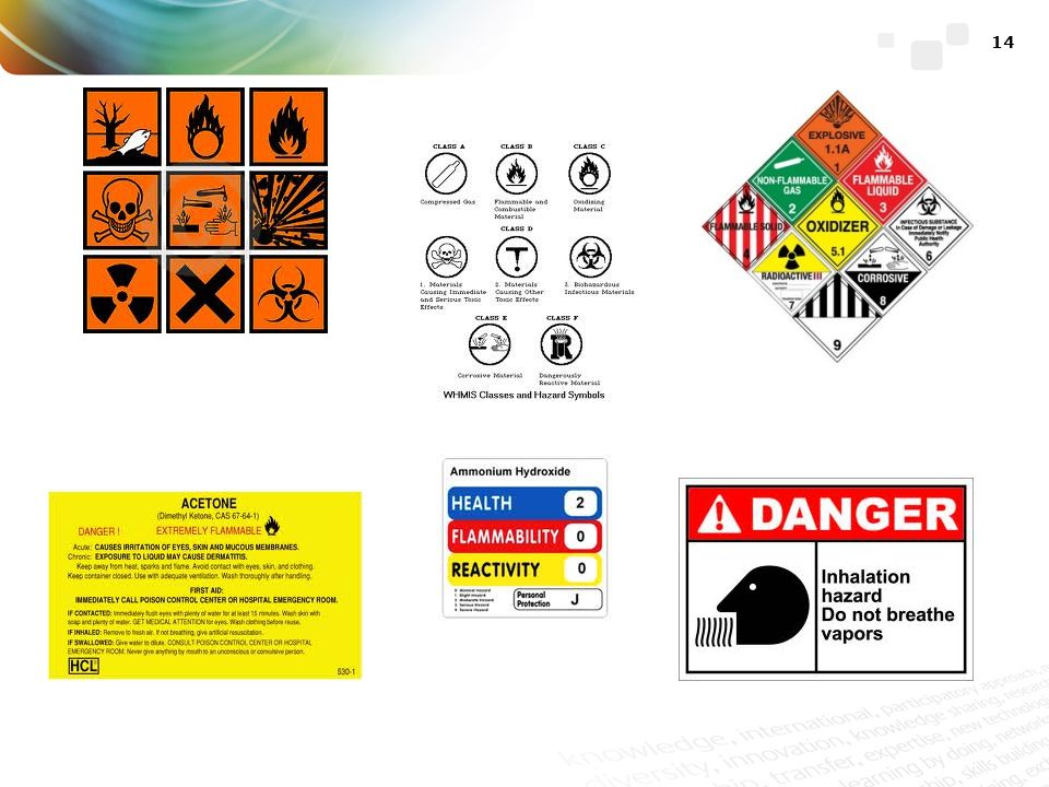 These are illustrations of some of the hazardous chemical labels that may be seen in chemical trade.